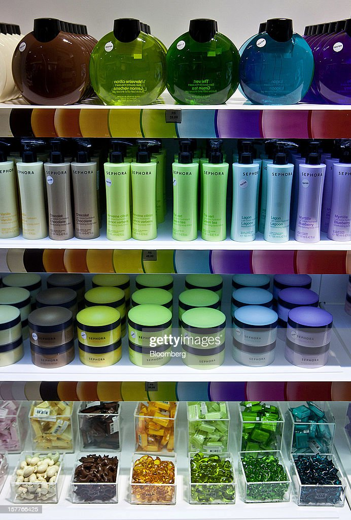 Colorful bath products are displayed for sale during the opening of a Sephora SA store at the Riosul shopping mall in Rio de Janeiro, Brazil, on Wednesday, Dec. 5, 2012. Sephora SA, a French beauty product retail chain, opened its first Brazil location earlier this year in July. Photographer: Dado Galdieri/Bloomberg via Getty Images