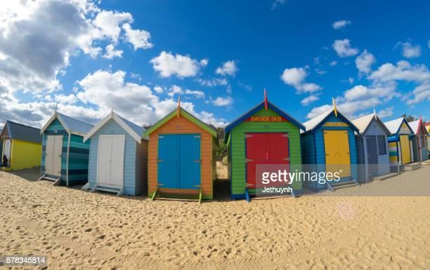 Colorful Bathing houses at Brighton beach, Melbourne, Victoria, Australia