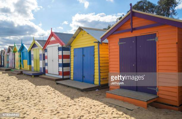 Colorful Bathing houses at Brighton beach, Melbourne, Victoria, Australia