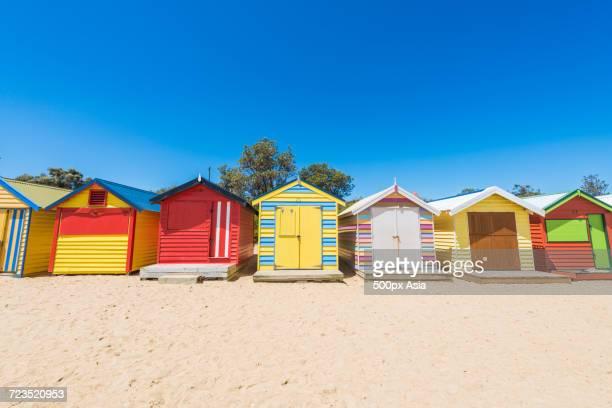 Colorful bathing houses on beach, Brighton Beach, Melbourne, Australia