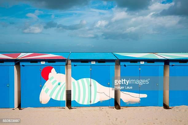 Colorful beach cabins at Malo-les-Bains beach