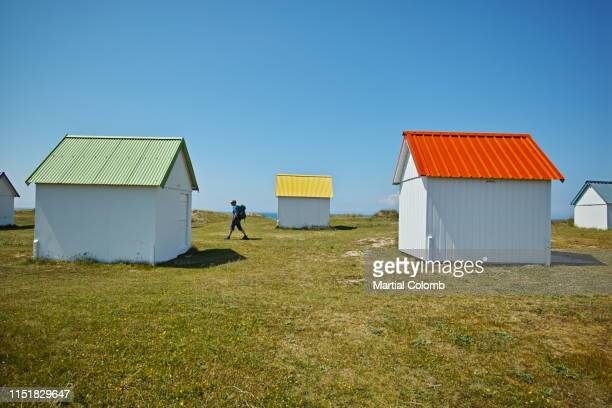 colorful beach cabins - martial stock pictures, royalty-free photos & images