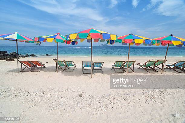 Colorful Beach Chairs in summer on island