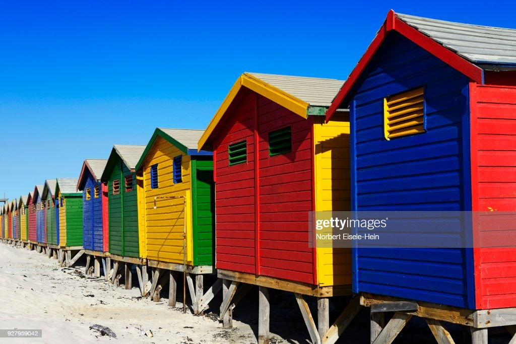 Colorful Beach Cottages On The Sandy Muizenberg False Bay Western Cape