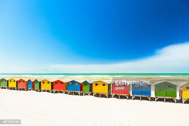 Colorful beach houses in Muizenberg, Cape Town, South Africa.