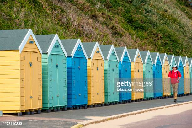 Colorful beach hut at Bournmouth beach in Dorset England UK