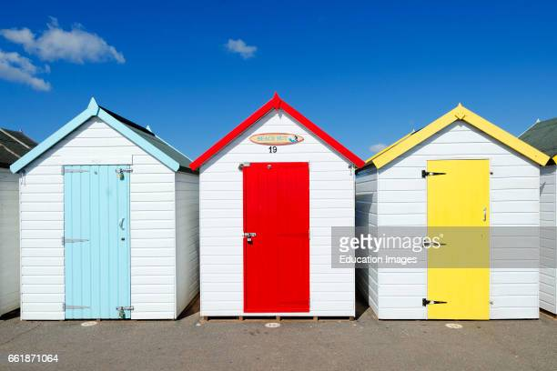colorful beach huts at goodrington sands in torbay Devon England UK
