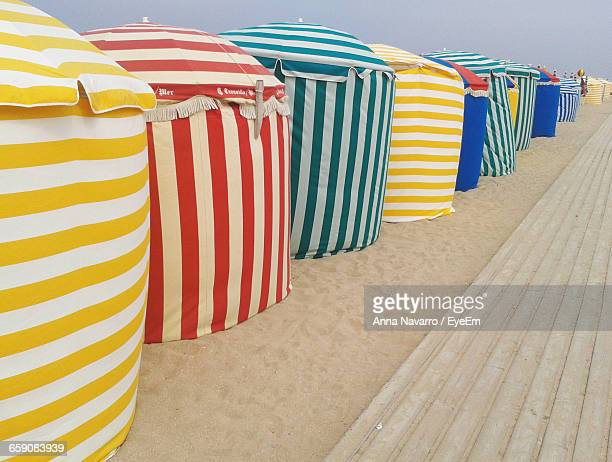 Colorful Beach Tents Against Sky