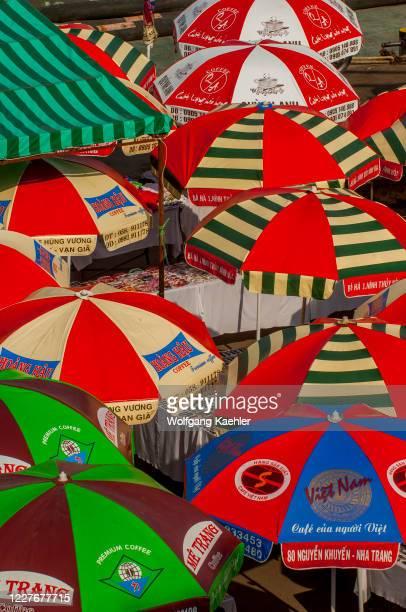Colorful beach umbrellas in Nha Trang in Vietnam.