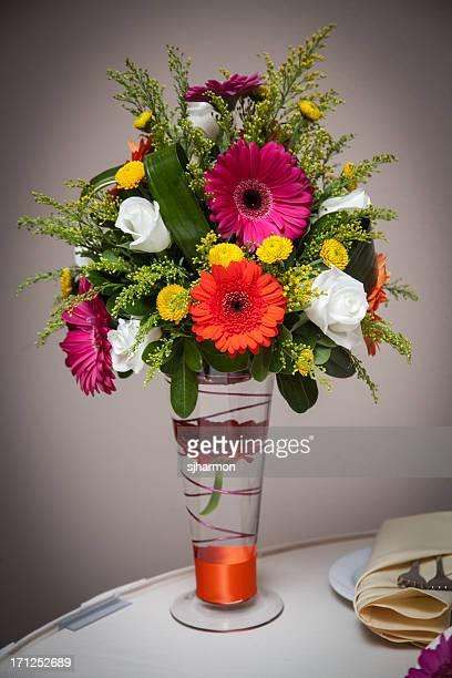 Colorful Beautiful Wedding Flowers in Vase Glowing Radiant Table