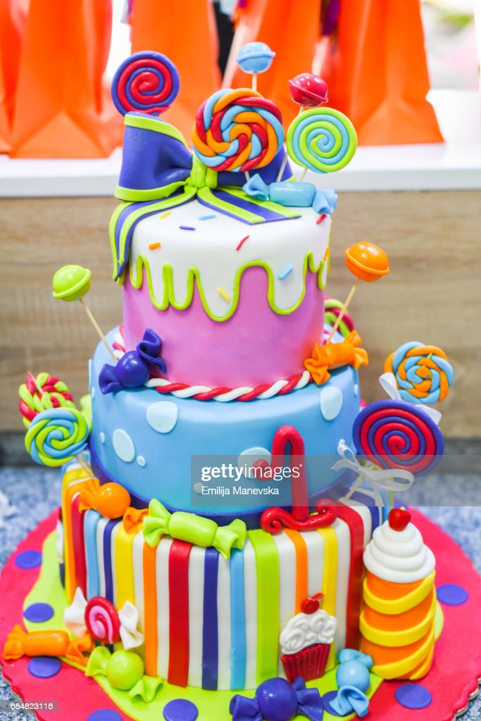 Colorful Birthday Cake Stock Photo Getty Images