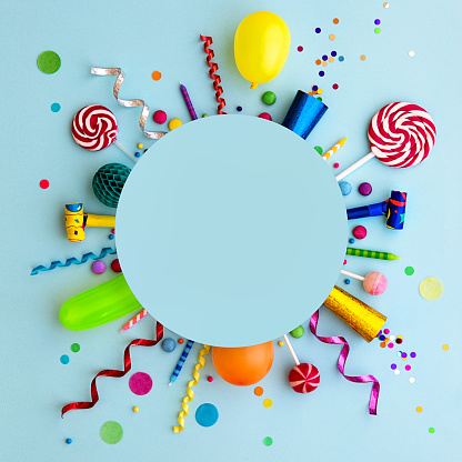 Colorful birthday party flat lay background 1141482379