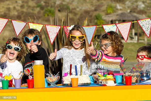 Colorful birthday's party outdoors