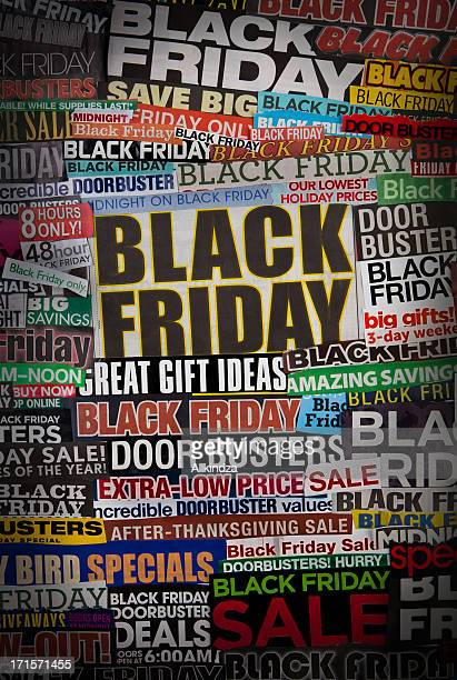 colorful black friday newspaper collage - black friday stock photos and pictures
