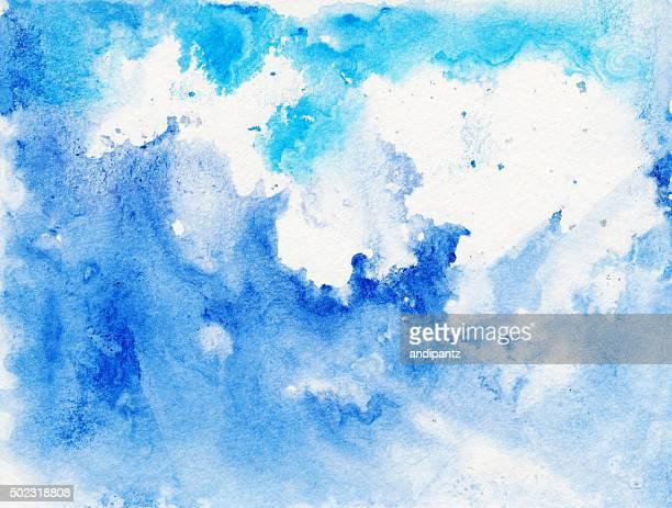 Farbenfrohe blaue Swimmingpools und drips Farbe auf weißem Hintergrund