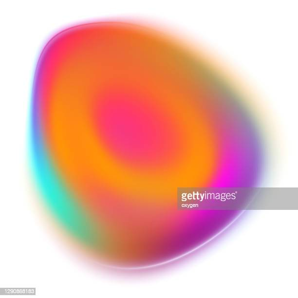 colorful blurred abstract liquid egg shape silk soft flow blend orange pink purple gradient on white - hill stock pictures, royalty-free photos & images