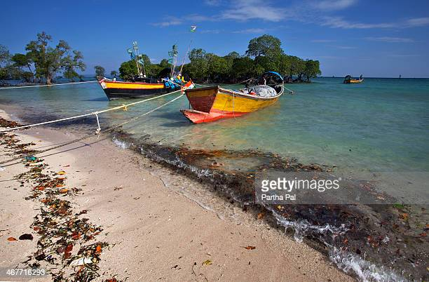 Colorful boats in Neil Island,Andaman