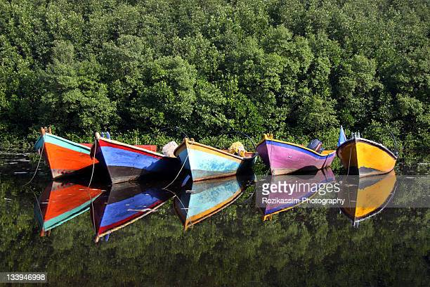 Colorful boats in river