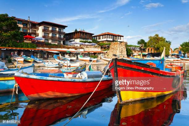colorful boats in the port of nessebar - bulgaria fotografías e imágenes de stock