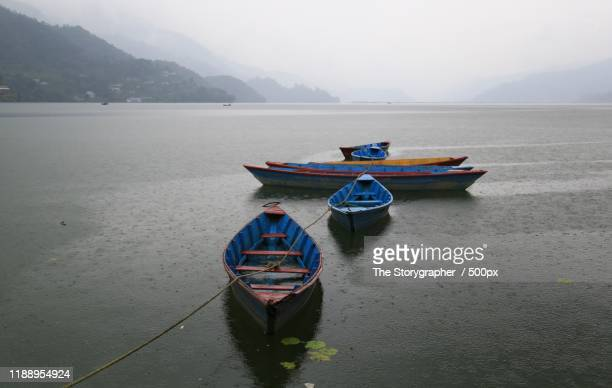 colorful boats moored in lake - the storygrapher bildbanksfoton och bilder