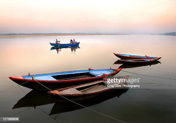 Colorful boats moored on Ganges river