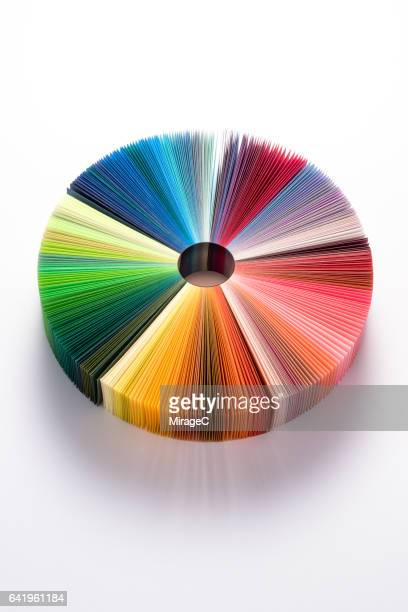 colorful book pages pie chart - pie chart stock pictures, royalty-free photos & images