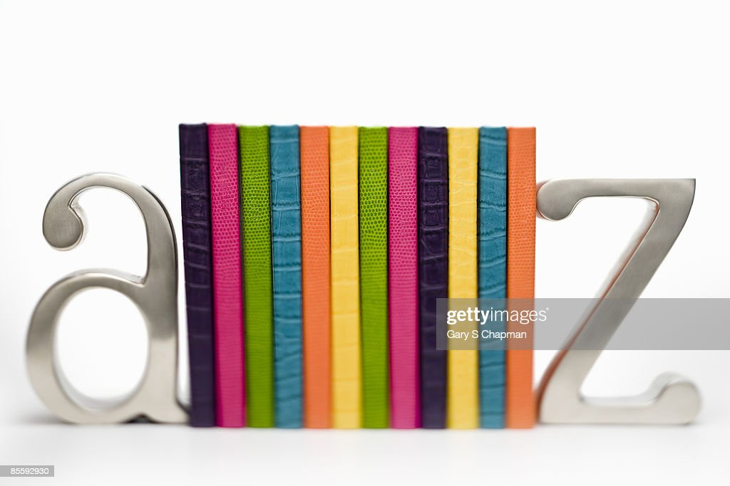 Colorful books between a to z bookends : Foto de stock