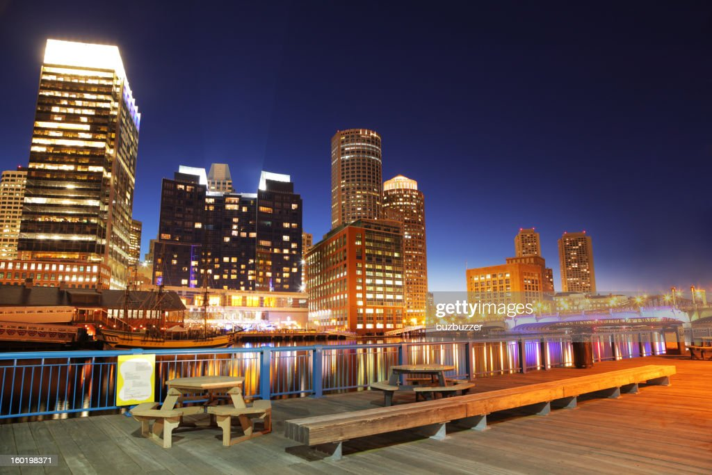 Colorful Boston City Center at Night : Stock Photo