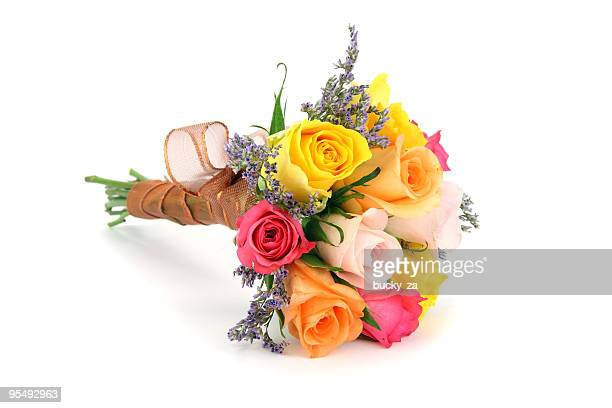 colorful bouquet or posy with stems wrapped in ribbon. - bouquet stock pictures, royalty-free photos & images