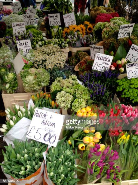 Colorful bouquets of flowers for sale outside flower shop