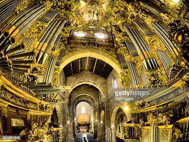 Colorful Braga Cathedral interior with large pipe organ