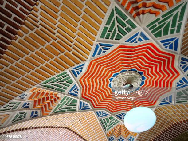 colorful brick middle east ceiling design - tabriz, iran - vogel stock pictures, royalty-free photos & images