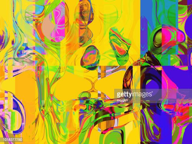 colorful brigt color splash background abstract - stereoscopic images stock photos and pictures