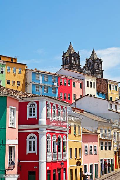 colorful buidings and church - bahía fotografías e imágenes de stock