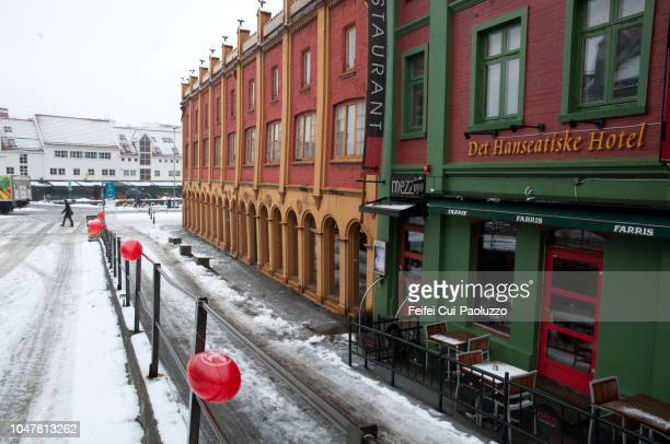 colorful building at downtown street of bergen, western norway - feifei cui paoluzzo stock pictures, royalty-free photos & images