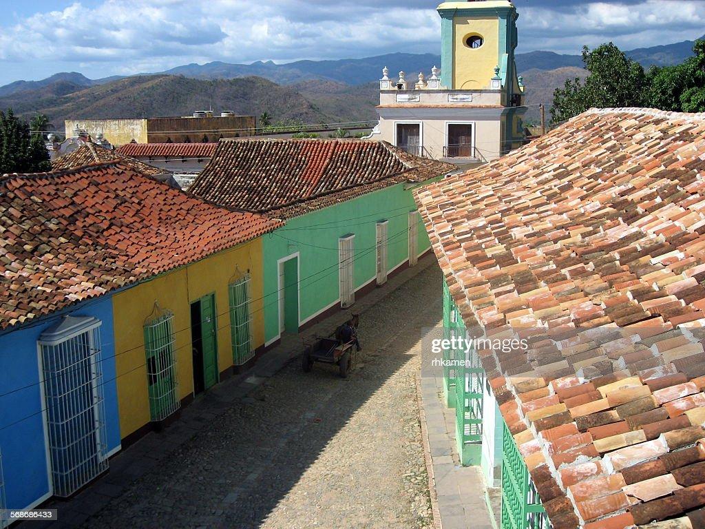 Colorful buildings and church, Trinidad, Cuba : Stock Photo