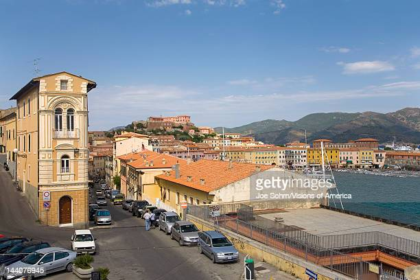 Colorful buildings and harbor of Portoferraio, Province of Livorno, on the island of Elba in the Tuscan Archipelago of Italy, Europe, where Napoleon...