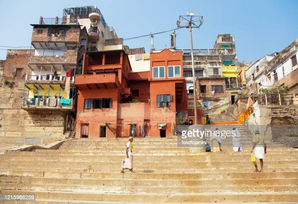colorful buildings and houses, in the day time, in varanasi - fotofojanini foto e immagini stock