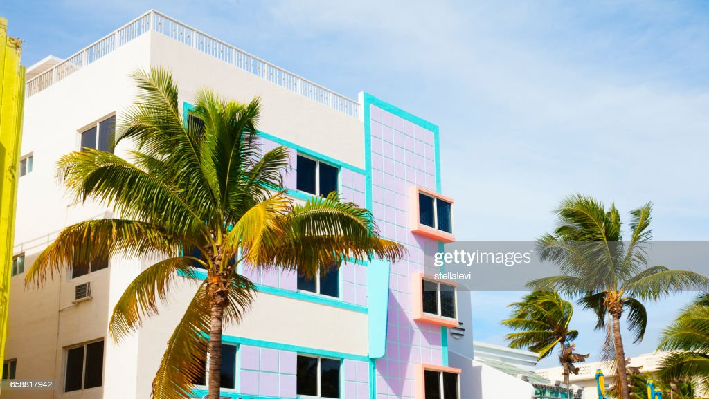 Colorful buildings in South Miami Beach : Stock Photo