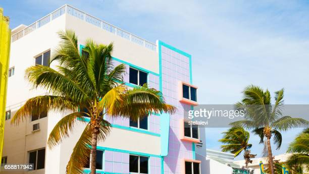 colorful buildings in south miami beach - miami foto e immagini stock