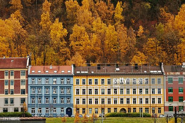 Colorful  buildings in the  east part of Oslo in fall.