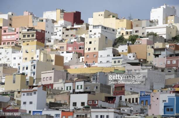 Colorful buildings in Vegueta, a foundational neighborhood of Las Palmas at Gran Canaria island, Canary Islands, Spain, November 13, 2017.