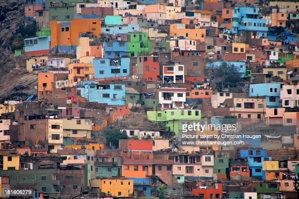 colorful buildings on a hillside - lima peru fotografías e imágenes de stock