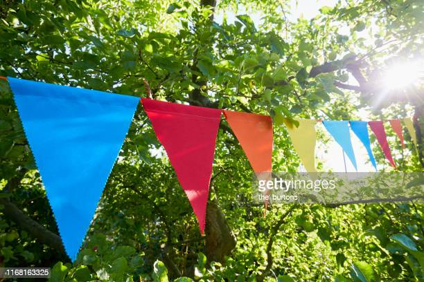 colorful bunting flags/ pennant chant at an apple tree for party decoration in garden - bunting stock pictures, royalty-free photos & images