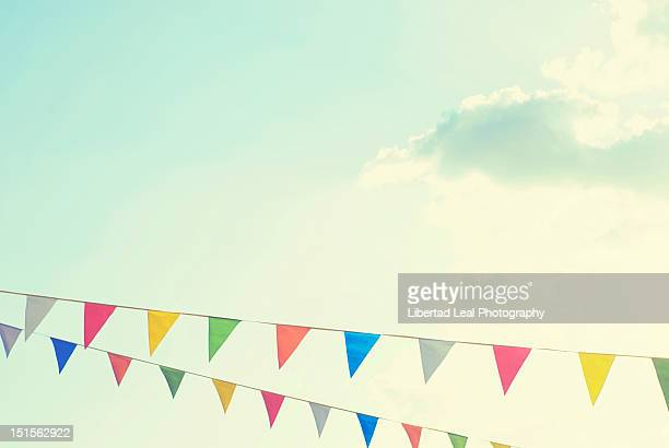 colorful bunting - pennant stock pictures, royalty-free photos & images