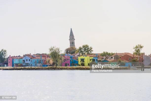 Colorful Burano island skyline in Venice, Italy