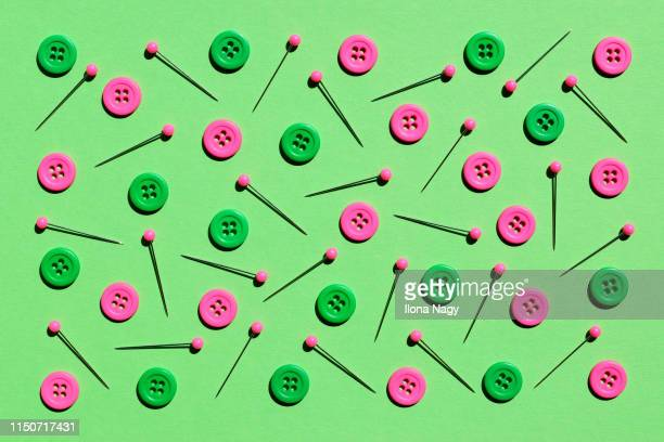 colorful buttons and straight pins - embroidery stock pictures, royalty-free photos & images