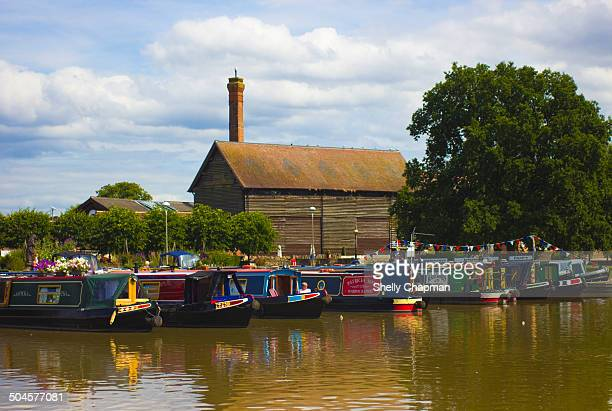 Colorful canal boats in the marina in the small market town of Stratford-upon-Avon,which is famous as the birthplace of William Shakespeare.