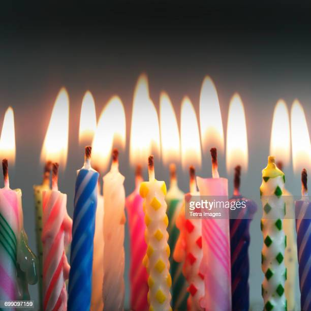 Birthday Cake Lots Of Candles Stock Photos And Pictures Getty Images