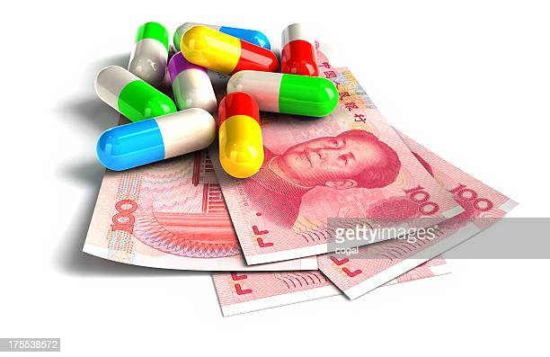 Colorful capsules on Chinese Yuan notes.